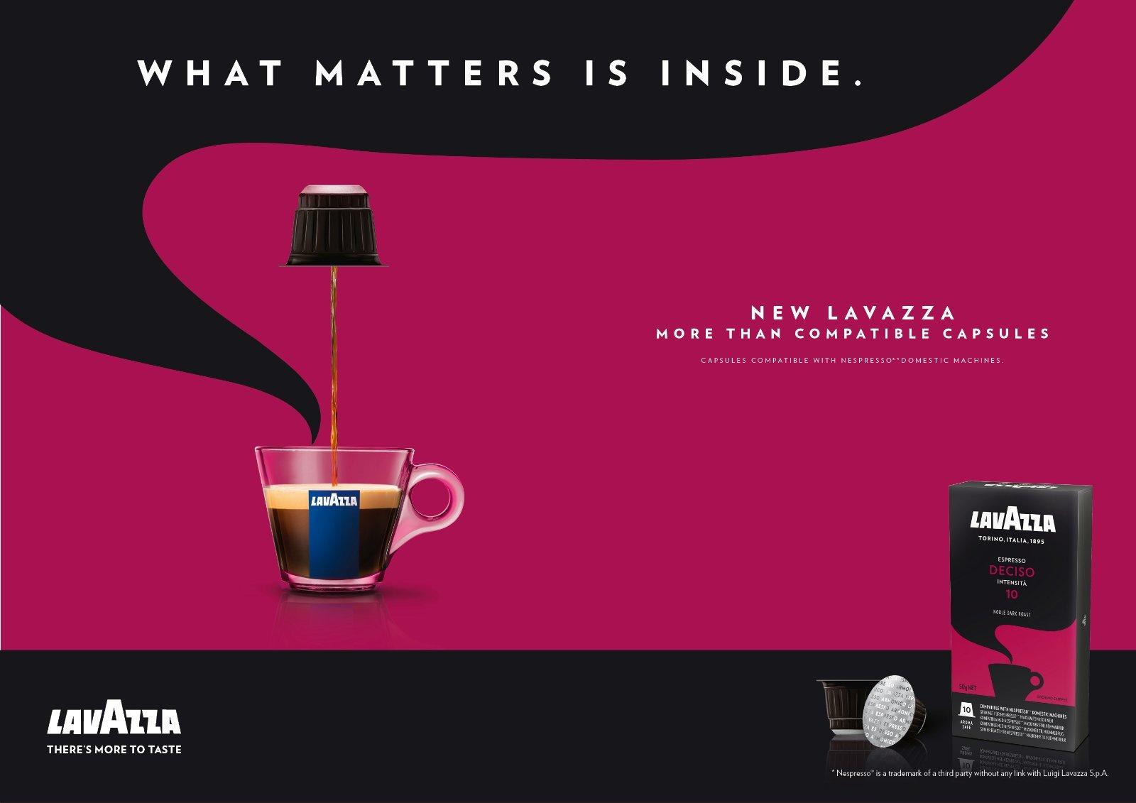 Lavazza Deciso erős kávé, összetéveszthetetlenül testes és intenzív ízzel.